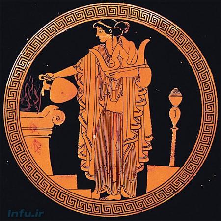 کاهنه تصویر شده توسط هنرمند یونان باستان