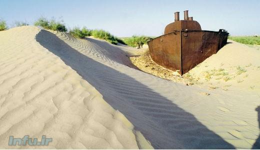 بخشی از دریاچه آرال (خوارزم) که خشک شده است