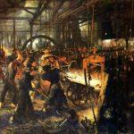 نقاشی آدولف منتزل از کارگران آلمان که در سال ٧۵-١٨٧٢ کشیده شد و از اولین نقاشیها از کارگران به شمار میآید