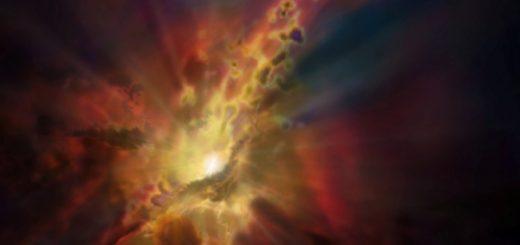 طرحی از فرآیند برافزایش سرد، که در جریان آن ابرهای مولکولی هیدروژن در شرایط ناپایدار گرمایی، بر ابرسیاهچاله مرکزی کهکشان «فرومیبارند» / منبع: NRAO/AUI/NSF; D. Berry / SkyWorks; ALMA (ESO/NAOJ/NRAO)