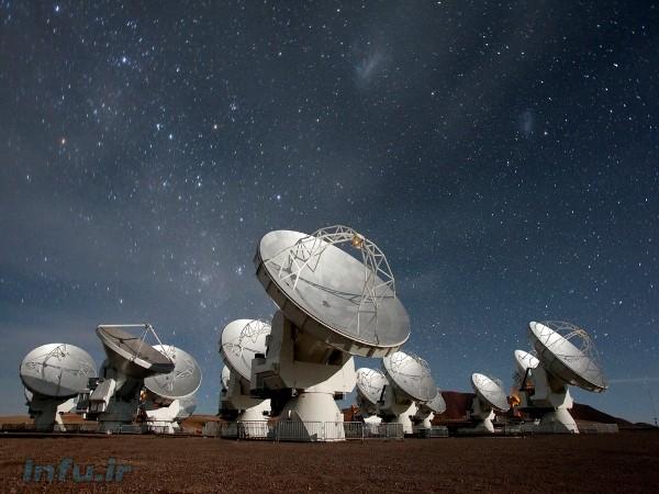 دورنمایی از آرایه رادیوتلسکوپهای میلیمتری/زیرمیلیمتری آتاکاما (ALMA)، واقع در فلات چاخنانتور، کشور شیلی / عکس از NRAO