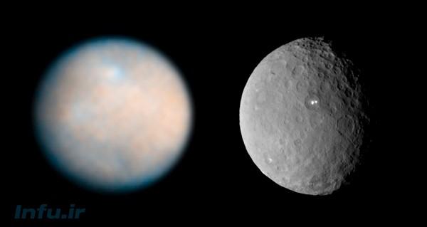 مقایسه شفافترین تصویر تلسکوپ فضایی هابل (چپ)، و مدارگرد بامداد (پیش از ورود به مدار) از سیمای سرس. منشأ دو نقطه درخشان دیدهشده در تصاویر اخیر بامداد از سرس، از داغترین معماهای این چند روز سیارهشناسان است.