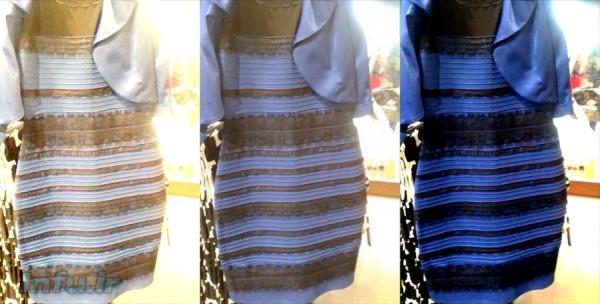 عکس لباس بلیسدل (وسط)، و نیز سه نسخه از آن با اعمال کاهش نوردهی (راست) و افزایش نوردهی (چپ).