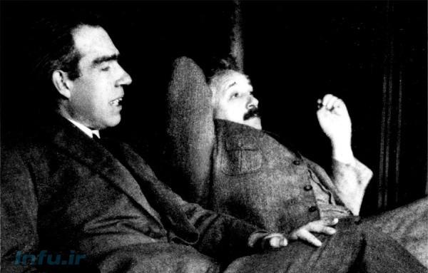 نیلز بور و آلبرت اینشتین در جریان مباحثاتشان در منزل پاول ارنفست (فیزیکدان اتریشی) در شهر لیدن هلند؛ مربوط به ۱۱ دسامبر ۱۹۲۵ / عکس از پاول ارنفست