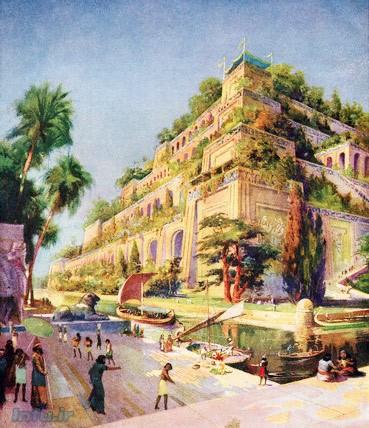 طرحی از باغهای معلق بابل؛ از کتاب Wonders of The Past، مربوط به سال ۱۹۲۰ / منبع: Corbis