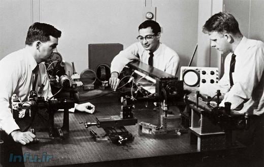 از چپ به راست: دان هریوت، علی جوان، و ویلیام بنت در کنار دستگاه لیزر هلیوم-نئونی