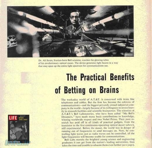 بریدهای از گزارش نشریه LIFE (منتشره در شماره ۲۹ سپتامبر ۱۹۶۱) راجع به ابداع لیزر گازی، با عنوان «فواید عملی سرمایهگذاری بر مغزها».