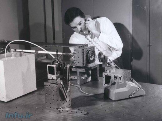 نمونه اولیه تأسیسات رد و بدل امواج تلفن از طریق دستگاه لیزر هلیوم-نئونی ِ تیم جوان، در آزمایشگاه بل