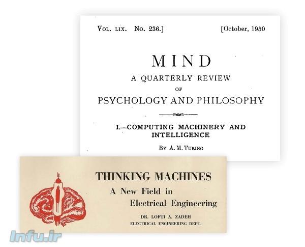 تصویری از تیتر مقالات ۱۹۵۰ لطفی زاده و آلن تورینگ در رابطه با امکانپذیری ساخت «ماشینهای متفکر»، که به ترتیب در ژانویه و اکتبر آن سال منتشر شدند.