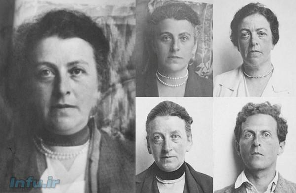 لودویگ ویتگنشتاین و سه خواهرش (عکسهای کوچک، به ترتیب از بالا-راست، پادساعتگرد: هلن، هرمینه، و گرتل ویتگنشتاین)، به اتفاق عکس ترکیبی از این چهار چهره (عکس بزرگتر، سمت چپ).