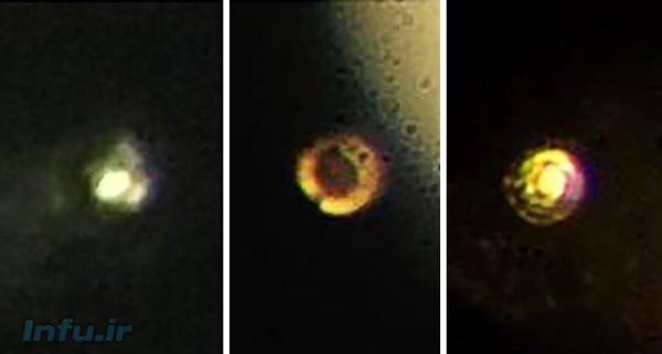 تصاویر میکروسکوپی ادعایی از مراحل تولید هیدروژن فلزی. هیدروژن مولکولی تحت فشار حدوداً ۲۰۰ گیگاپاسکال (چپ)؛ هیدروژن مولکولی کدر (وسط)؛ و احتمالاً هیدروژن فلزی براق تحت فشار ۴۹۵ گیگاپاسکال (راست).