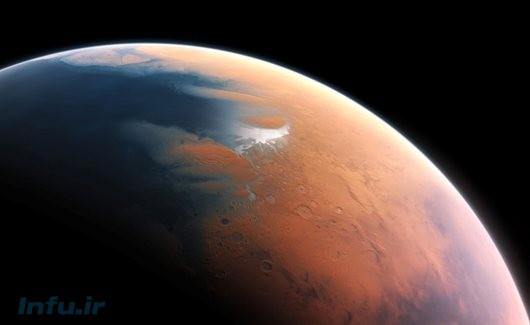 دورنمایی خیالی از اقیانوس احتمالی مریخ، در حدود چهار میلیارد سال پیش / طرح از M. Kornmesser