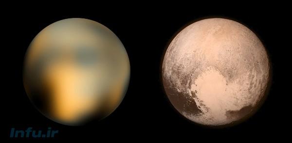 بهترین نمای پلوتو از دید تلسکوپ فضایی هابل (چپ)، و واپسین تصویر ارسالی افقهای نو از سیمای پلوتو، ساعاتی پیش از گذر چهاردهم ژوئیه.