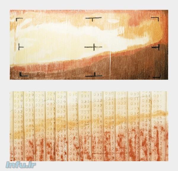 نخستین تصویر ارسالی از مریخ به زمین، بر مبنای مشاهدات کاوشگر مارینر-۴ (بالا) در چهارده ژوئیه ۱۹۶۵. این تصویر نسبتاً نامفهوم در واقع نقاشیای بر مبنای الگوی دادههای خام ارسالی این کاوشگر به زمین است. تصویر پایین، برشی نزدیک از تصویر اصلیست که در آن جزئیات کمّی این دادهها پیداست.