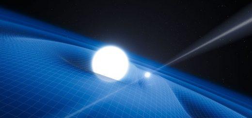 طرحی از منظومه PSR J0348+0432؛ متشکل از یک تپاختر (جسم کوچکتر) و یک کوتوله سفید؛ که هر دو بقایای مرگ ستارگانی با جرمهای مختلفاند