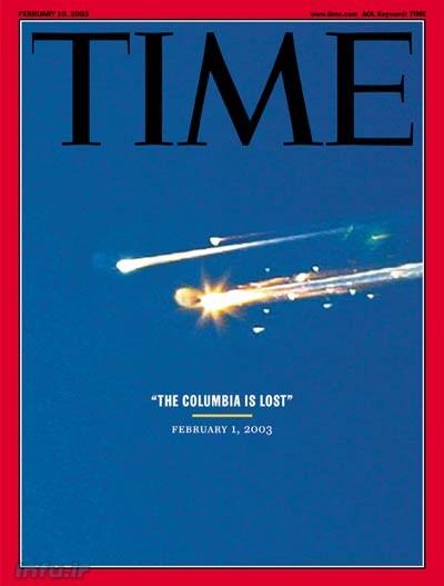 جلد هفتهنامه پرتیراژ تایم، پس از وقوع فاجعه کلمبیا؛ لحظاتی پس از انفجار شاتل در جو زمین