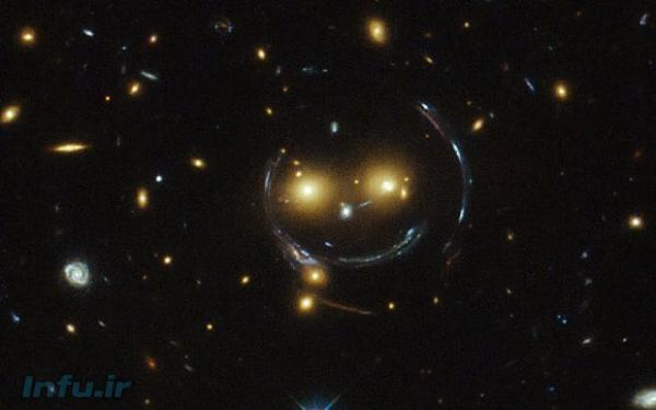 خمیدگی نور کهکشانهای پسزمینه (خطوط منحنی) حین گذر از کنار یک مجموعهکهکشان در پیشزمینه (دو توده پرنور زردرنگ)، از دید تلسکوپ فضایی هابل. این پدیده، که «عدسی گرانشی» خوانده میشود، از محکمترین شواهد دال بر انحنای محسوس فضا-زمان در حضور جرم است.