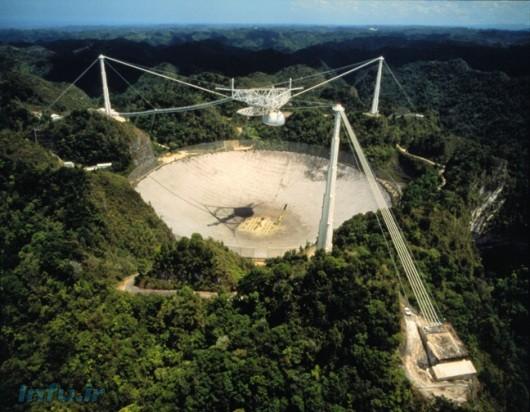 دورنمایی از بشقاب ۳۰۵-متری رادیوتلسکوپ آرسیبو، واقع در کشور پورتوریکو