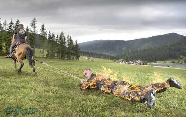 ثبت رکورد گینس باکشیده شدن با اسب در حال سوختن