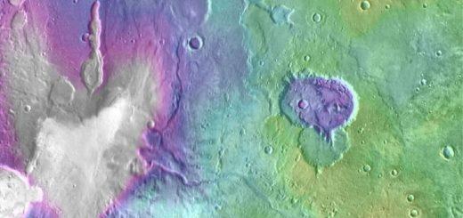 حفرههایی که تصور میشود زمانی دریاچههای پرآب در مریخ بودهاند.