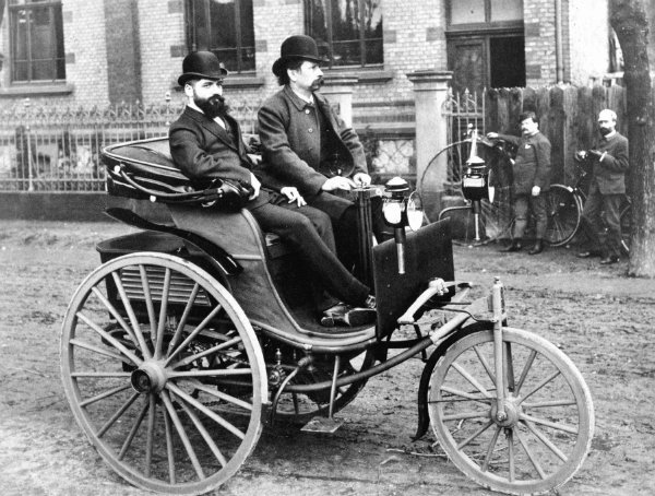 Carl Benz at the tiller of the improved 1887 Benz Patent Motorwagen