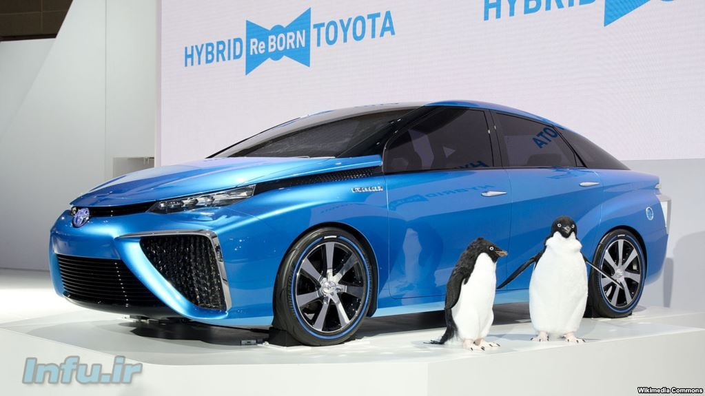 Toyota FCV که سوختش هیدروژن است و آب از اگزوز آن خارج میشود