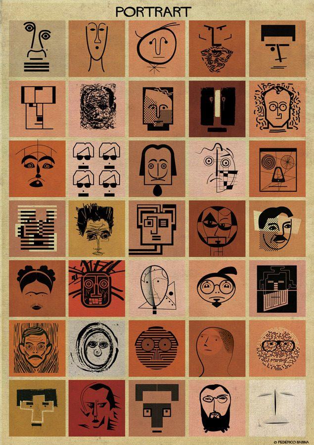 اینفو - پرترههایی از ۳۵ هنرمند برتر جهان با الهام از سبک شخصی خودشان