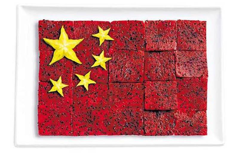 پرچم کشور چین,تزیین دسر ,تزیین خوراکی ها