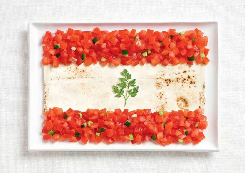 پرچم کشور لبنان,تزیین دسر ,تزیین خوراکی ها