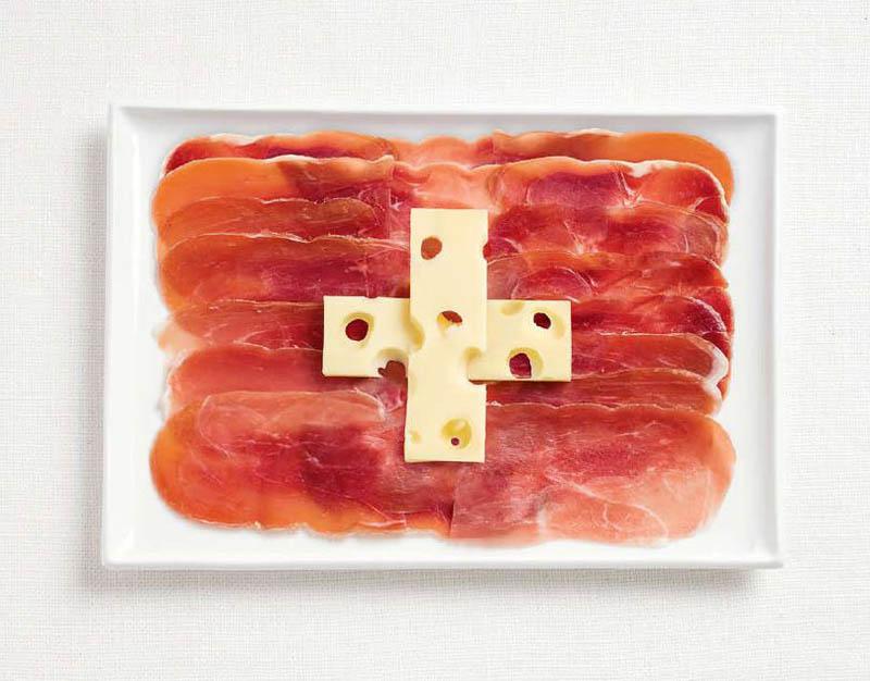 پرچم کشور سویس,تزیین دسر ,تزیین خوراکی ها