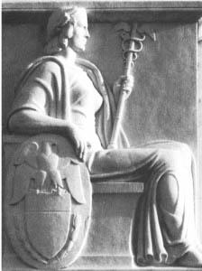 بانوی آزادی یا همان الهه کلمبیا با عصا و دو مار پیچیده به آن. خزانه داری فدرال, واشنگتن