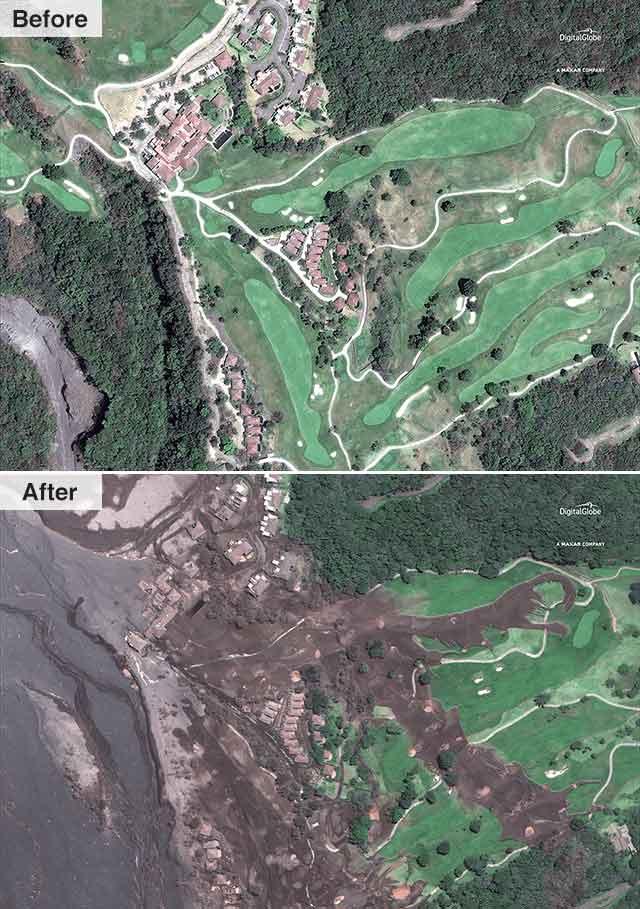 عکس ماهوارهای از یکی از روستاهای اطراف آتشفشان فوئگو