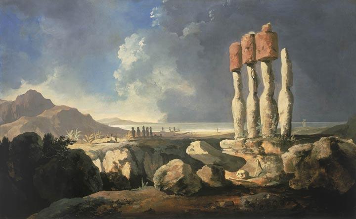 تابلوی «نمایی از بناهای تاریخی جزیره ایستر» اثر ویلیام هودز
