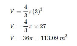 حجم اشغالشده توسط کرهای به شعاع r=3m